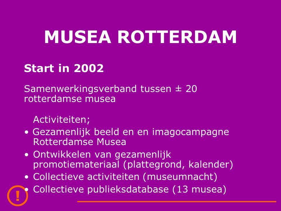 MUSEA ROTTERDAM Start in 2002 Samenwerkingsverband tussen ± 20 rotterdamse musea Activiteiten; Gezamenlijk beeld en en imagocampagne Rotterdamse Musea Ontwikkelen van gezamenlijk promotiemateriaal (plattegrond, kalender) Collectieve activiteiten (museumnacht) Collectieve publieksdatabase (13 musea)