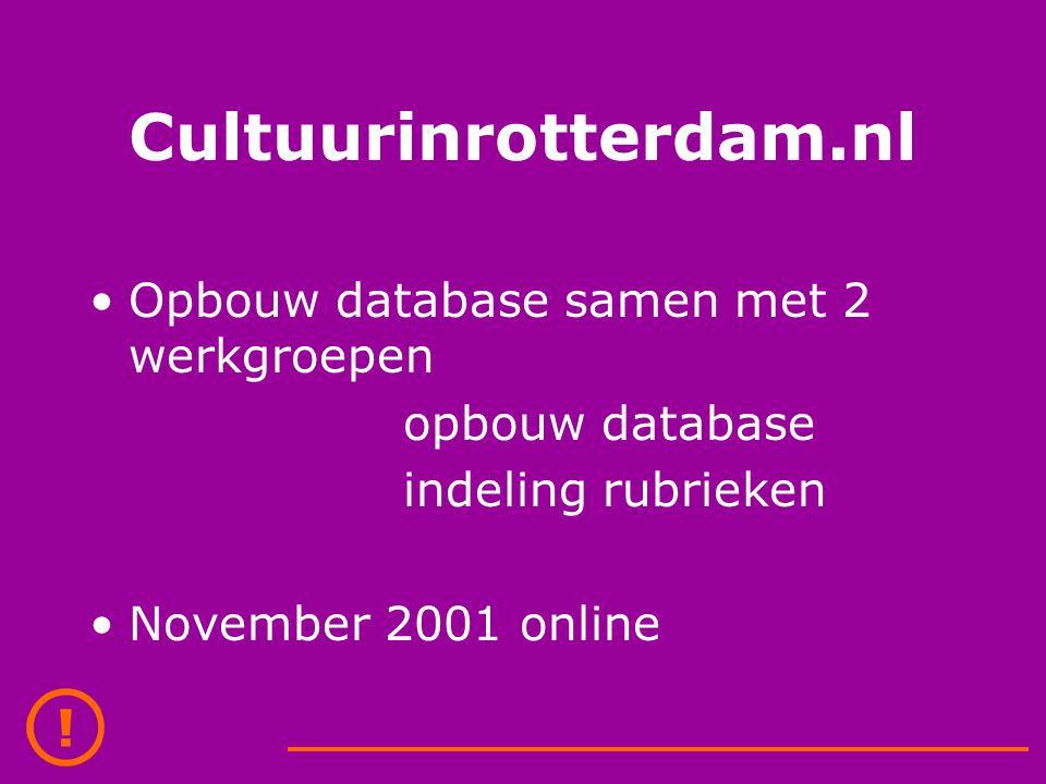 Cultuurinrotterdam.nl Opbouw database samen met 2 werkgroepen opbouw database indeling rubrieken November 2001 online