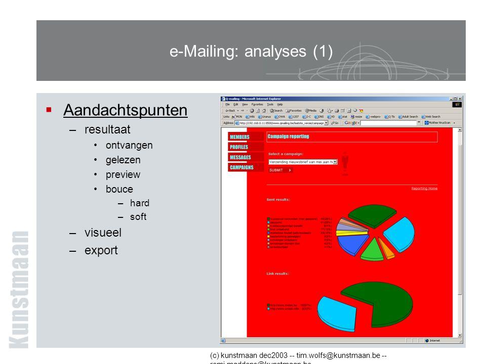 (c) kunstmaan dec2003 -- tim.wolfs@kunstmaan.be -- remi.maddens@kunstmaan.be e-Mailing: analyses (1)  Aandachtspunten –resultaat ontvangen gelezen preview bouce –hard –soft –visueel –export