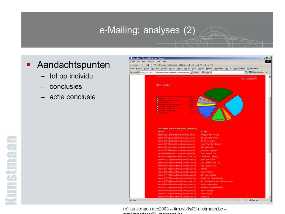 (c) kunstmaan dec2003 -- tim.wolfs@kunstmaan.be -- remi.maddens@kunstmaan.be e-Mailing: analyses (2)  Aandachtspunten –tot op individu –conclusies –actie conclusie