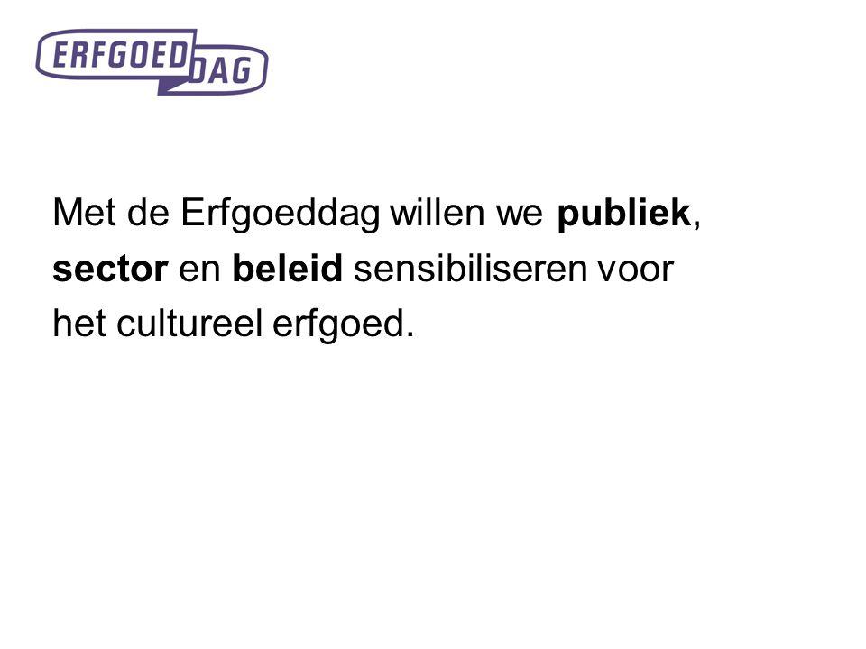 Erfgoeddag wil het brede publiek duidelijk maken dat cultureel erfgoed alomtegenwoordig is en dat het bijdraagt tot onze levenskwaliteit