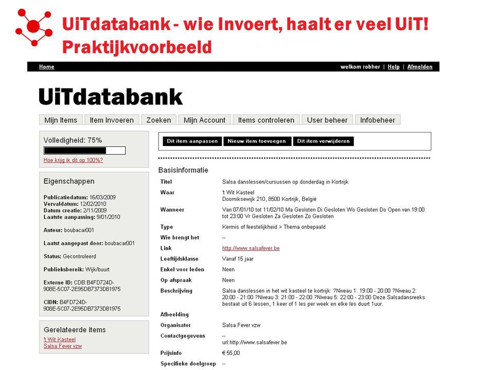 UiTdatabank - wie Invoert, haalt er veel UiT! Praktijkvoorbeeld