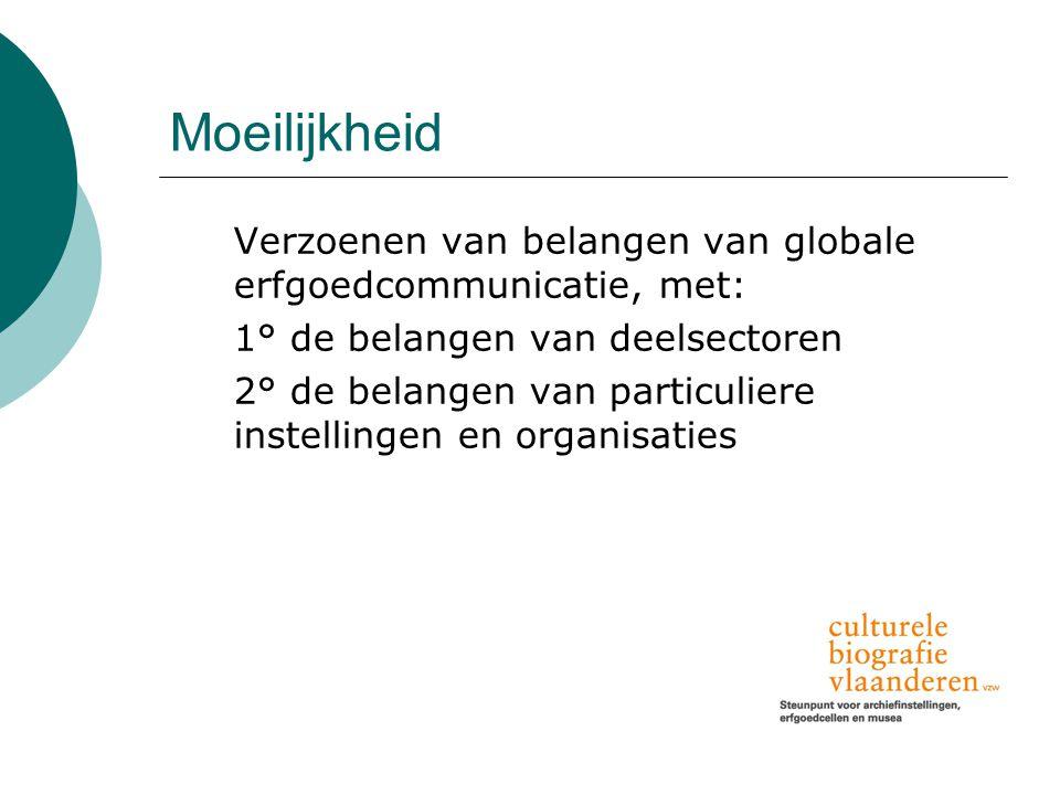 Moeilijkheid Verzoenen van belangen van globale erfgoedcommunicatie, met: 1° de belangen van deelsectoren 2° de belangen van particuliere instellingen en organisaties