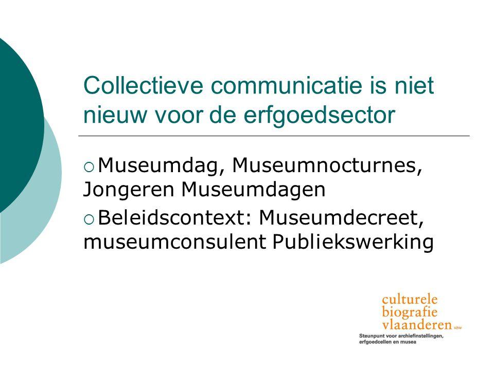 Collectieve communicatie is niet nieuw voor de erfgoedsector  Museumdag, Museumnocturnes, Jongeren Museumdagen  Beleidscontext: Museumdecreet, museumconsulent Publiekswerking