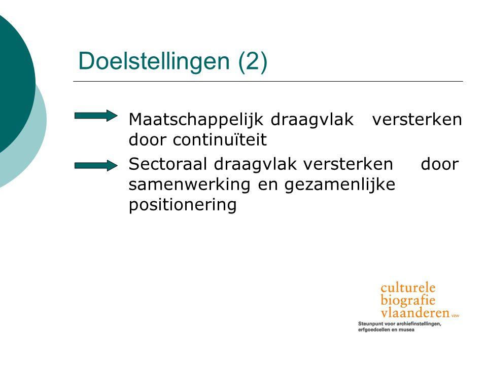 Doelstellingen (2) Maatschappelijk draagvlak versterken door continuïteit Sectoraal draagvlak versterken door samenwerking en gezamenlijke positionering
