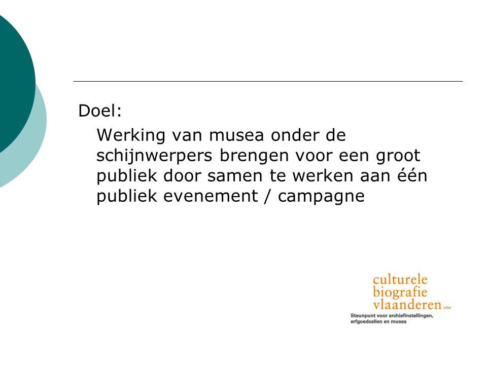 Doel: Werking van musea onder de schijnwerpers brengen voor een groot publiek door samen te werken aan één publiek evenement / campagne