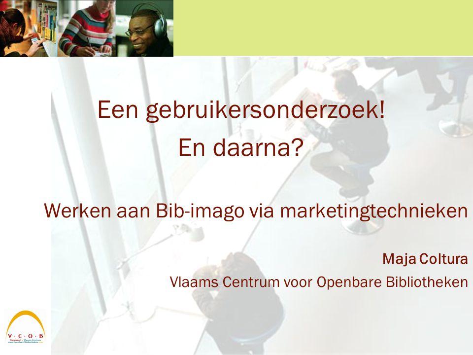 2004: gebruikersonderzoek Vlaams onderzoek bij 32.041 bibgebruikers –Uitleengegevens (6 maanden) –Achtergrondinfo (via enquêtes) –Bibliotheekkenmerken