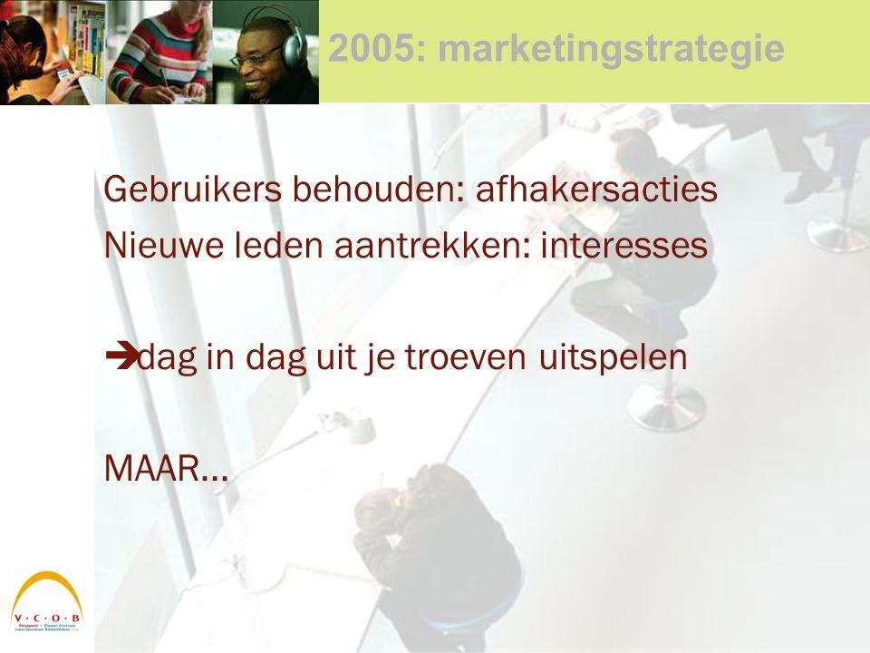 2005: marketingstrategie Gebruikers behouden: afhakersacties Nieuwe leden aantrekken: interesses  dag in dag uit je troeven uitspelen MAAR...