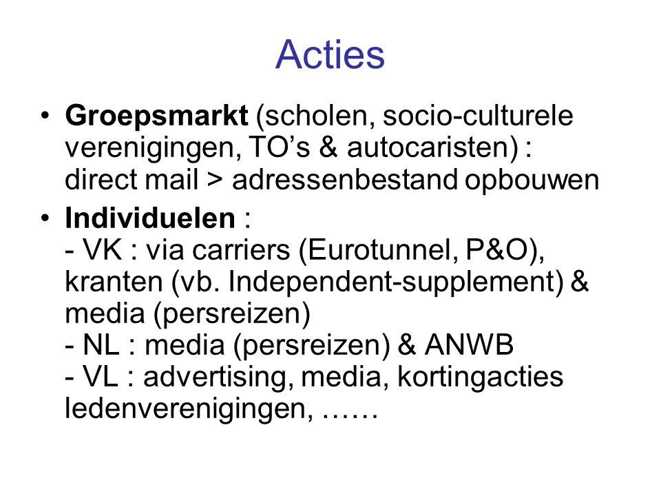 Acties Groepsmarkt (scholen, socio-culturele verenigingen, TO's & autocaristen) : direct mail > adressenbestand opbouwen Individuelen : - VK : via carriers (Eurotunnel, P&O), kranten (vb.