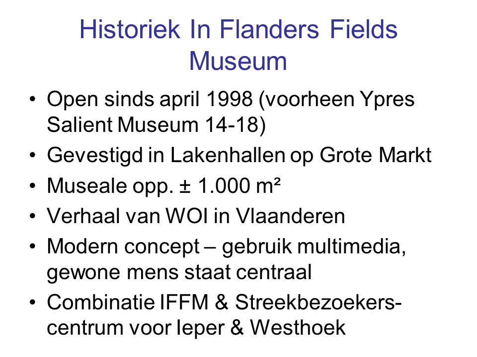 Historiek In Flanders Fields Museum Open sinds april 1998 (voorheen Ypres Salient Museum 14-18) Gevestigd in Lakenhallen op Grote Markt Museale opp.