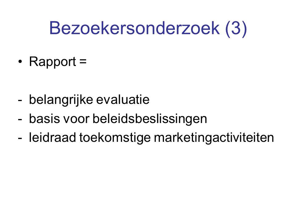 Bezoekersonderzoek (3) Rapport = -belangrijke evaluatie -basis voor beleidsbeslissingen -leidraad toekomstige marketingactiviteiten