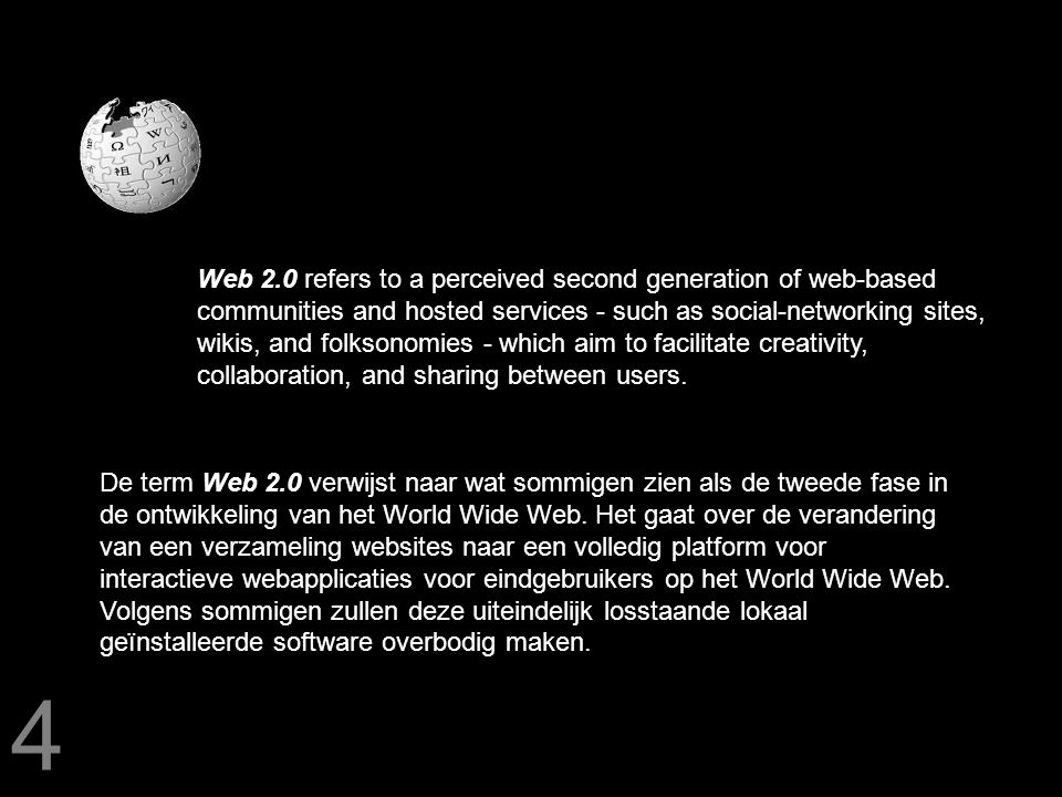 Web 2.0 refers to a perceived second generation of web-based communities and hosted services - such as social-networking sites, wikis, and folksonomies - which aim to facilitate creativity, collaboration, and sharing between users.