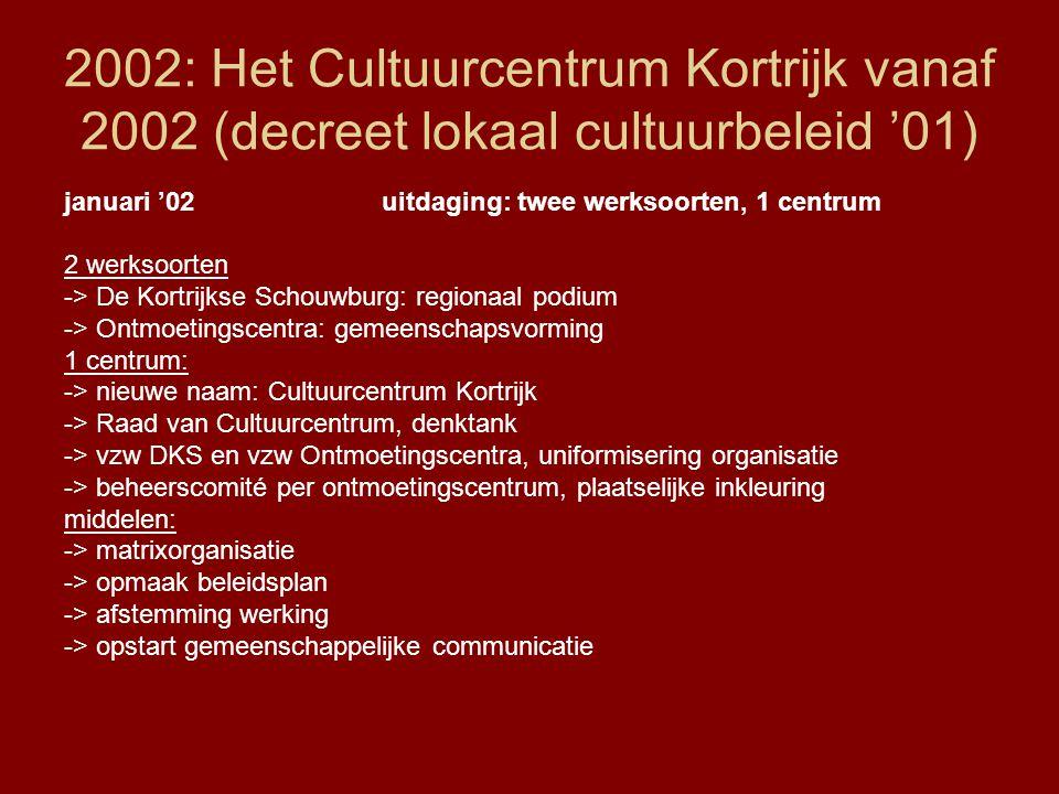 2002: Het Cultuurcentrum Kortrijk vanaf 2002 (decreet lokaal cultuurbeleid '01) januari '02uitdaging: twee werksoorten, 1 centrum 2 werksoorten -> De Kortrijkse Schouwburg: regionaal podium -> Ontmoetingscentra: gemeenschapsvorming 1 centrum: -> nieuwe naam: Cultuurcentrum Kortrijk -> Raad van Cultuurcentrum, denktank -> vzw DKS en vzw Ontmoetingscentra, uniformisering organisatie -> beheerscomité per ontmoetingscentrum, plaatselijke inkleuring middelen: -> matrixorganisatie -> opmaak beleidsplan -> afstemming werking -> opstart gemeenschappelijke communicatie