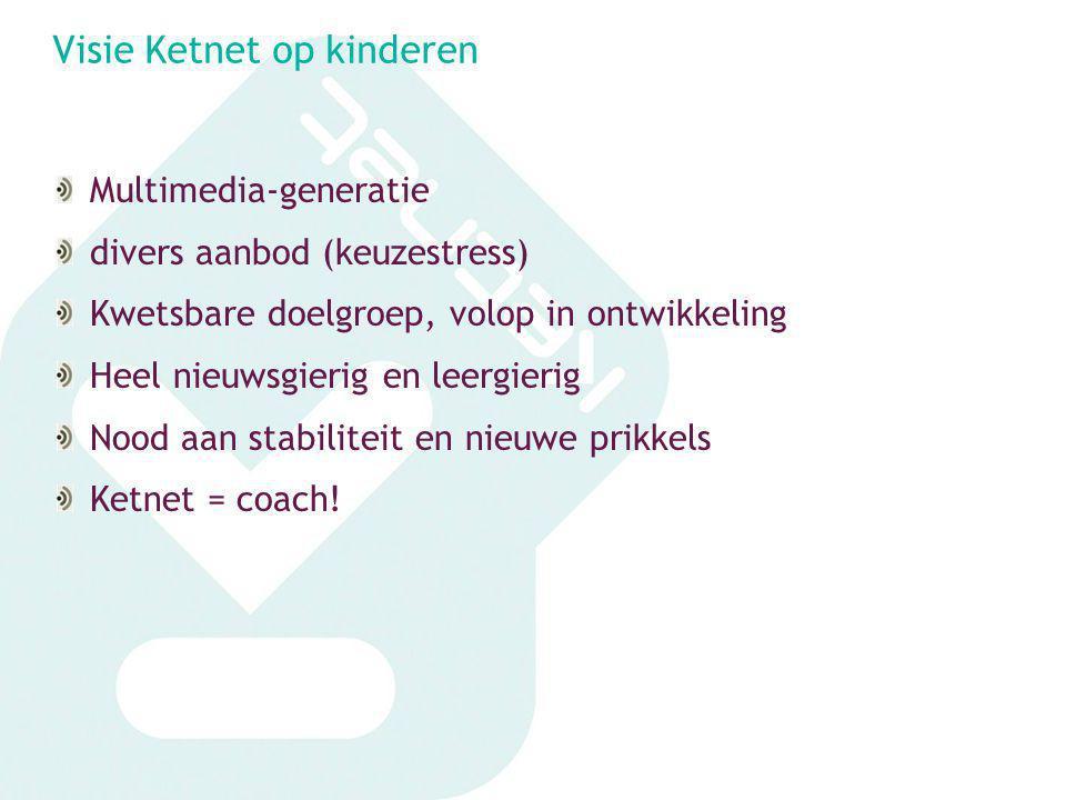Visie Ketnet op kinderen Multimedia-generatie divers aanbod (keuzestress) Kwetsbare doelgroep, volop in ontwikkeling Heel nieuwsgierig en leergierig N