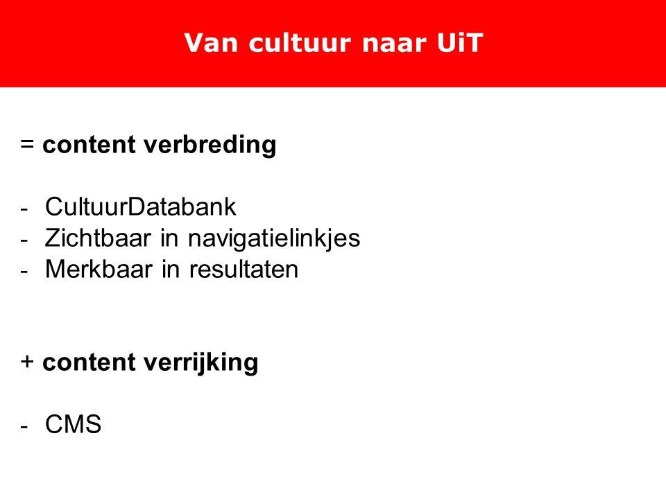 Van cultuur naar UiT = content verbreding - CultuurDatabank - Zichtbaar in navigatielinkjes - Merkbaar in resultaten + content verrijking - CMS