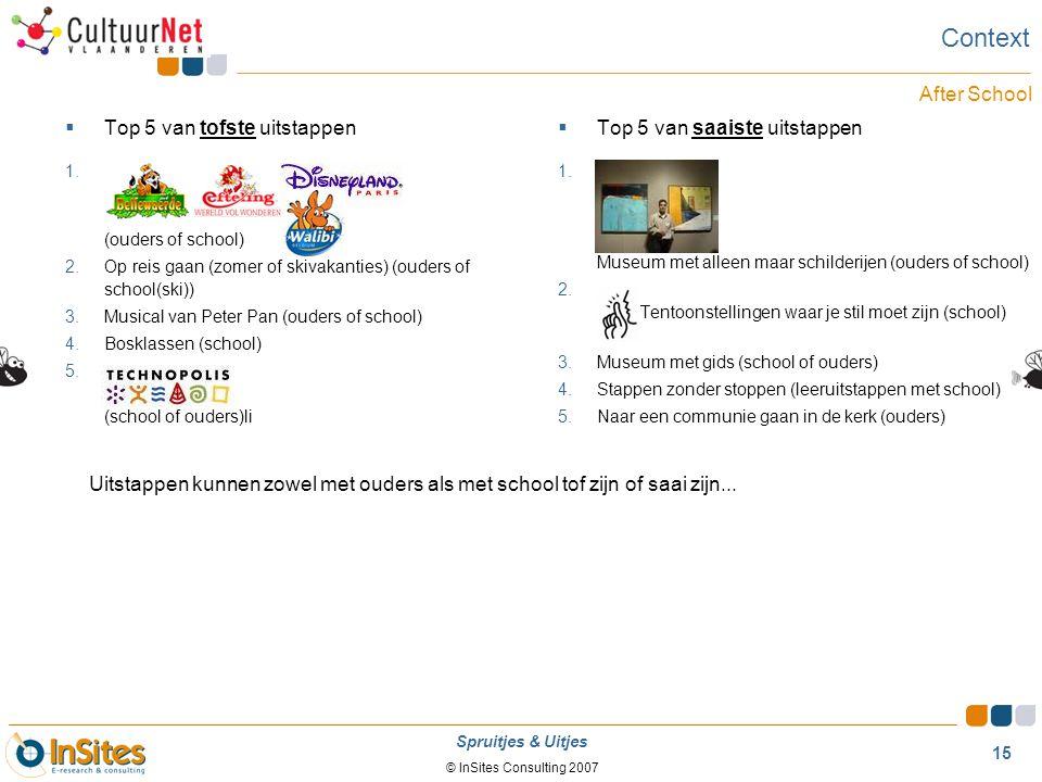 © InSites Consulting 2007 15 Spruitjes & Uitjes  Top 5 van tofste uitstappen 1. (ouders of school) 2.Op reis gaan (zomer of skivakanties) (ouders of