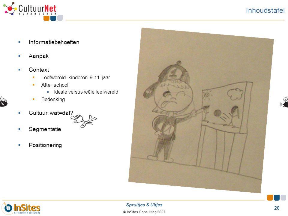 © InSites Consulting 2007 20 Spruitjes & Uitjes Inhoudstafel  Informatiebehoeften  Aanpak  Context  Leefwereld kinderen 9-11 jaar  After school 