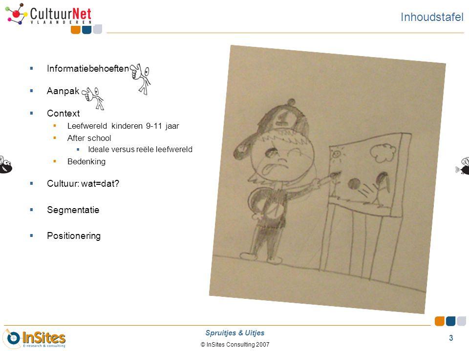 © InSites Consulting 2007 3 Spruitjes & Uitjes Inhoudstafel  Informatiebehoeften  Aanpak  Context  Leefwereld kinderen 9-11 jaar  After school 