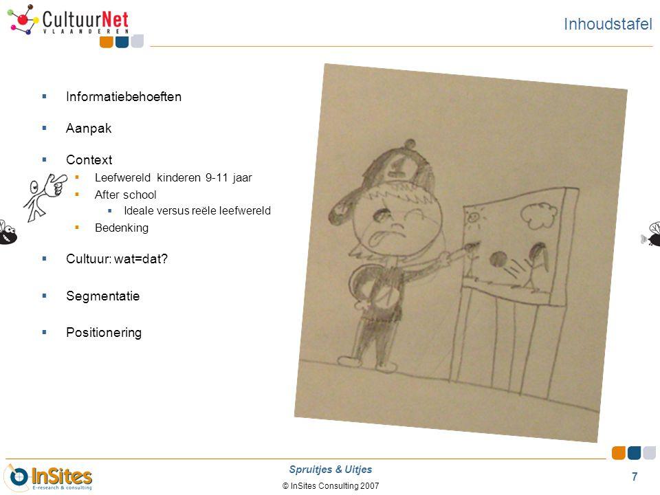© InSites Consulting 2007 7 Spruitjes & Uitjes Inhoudstafel  Informatiebehoeften  Aanpak  Context  Leefwereld kinderen 9-11 jaar  After school 