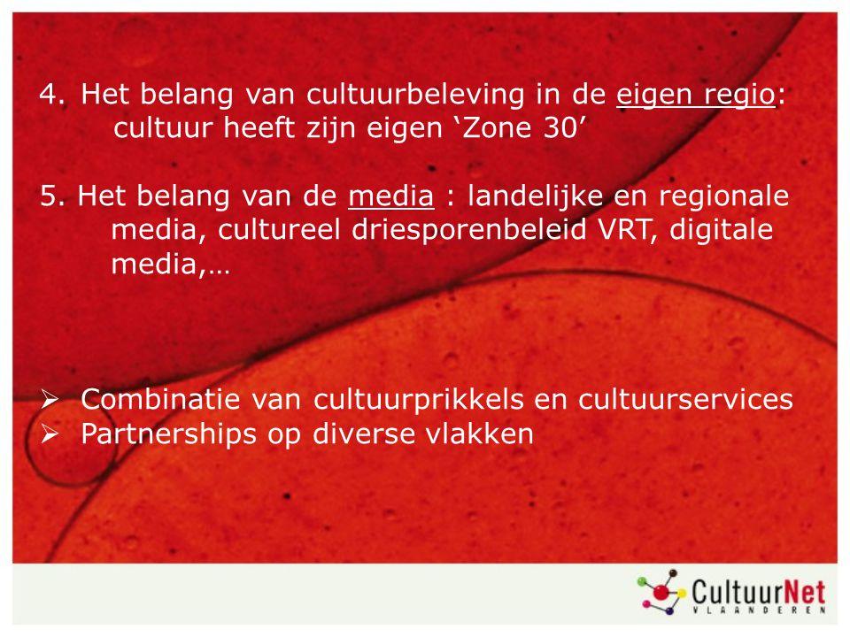 4. Het belang van cultuurbeleving in de eigen regio: cultuur heeft zijn eigen 'Zone 30' 5. Het belang van de media : landelijke en regionale media, cu
