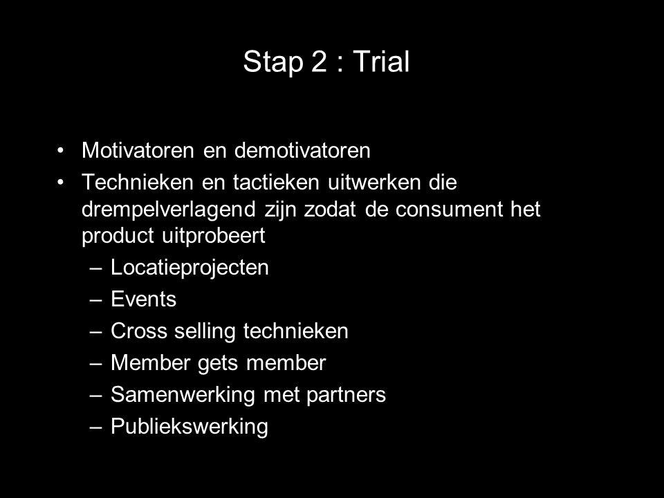 Stap 2 : Trial Motivatoren en demotivatoren Technieken en tactieken uitwerken die drempelverlagend zijn zodat de consument het product uitprobeert –Lo