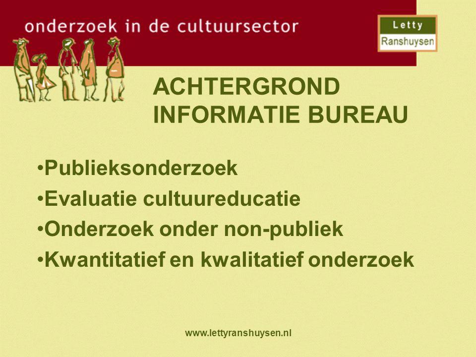 www.lettyranshuysen.nl ACHTERGROND INFORMATIE BUREAU Publieksonderzoek Evaluatie cultuureducatie Onderzoek onder non-publiek Kwantitatief en kwalitati