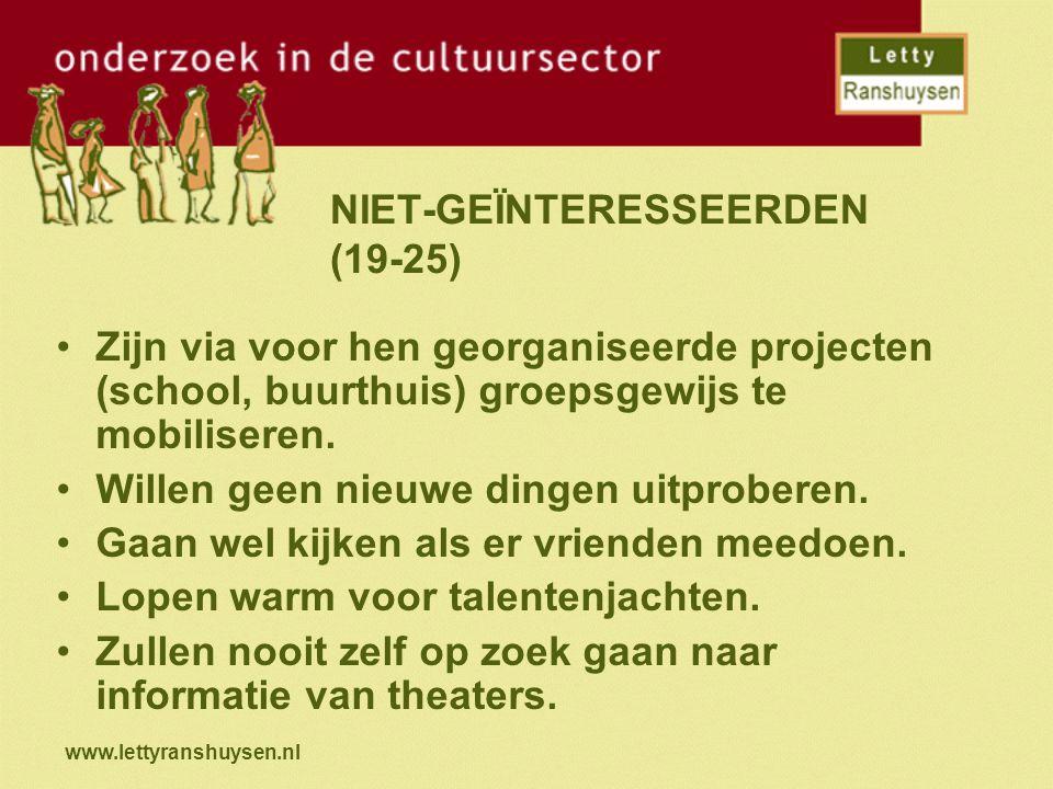 www.lettyranshuysen.nl NIET-GEÏNTERESSEERDEN (19-25) Zijn via voor hen georganiseerde projecten (school, buurthuis) groepsgewijs te mobiliseren. Wille