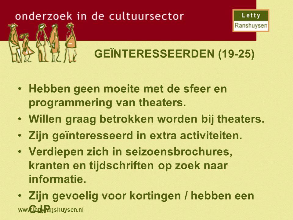www.lettyranshuysen.nl GEÏNTERESSEERDEN (19-25) Hebben geen moeite met de sfeer en programmering van theaters. Willen graag betrokken worden bij theat