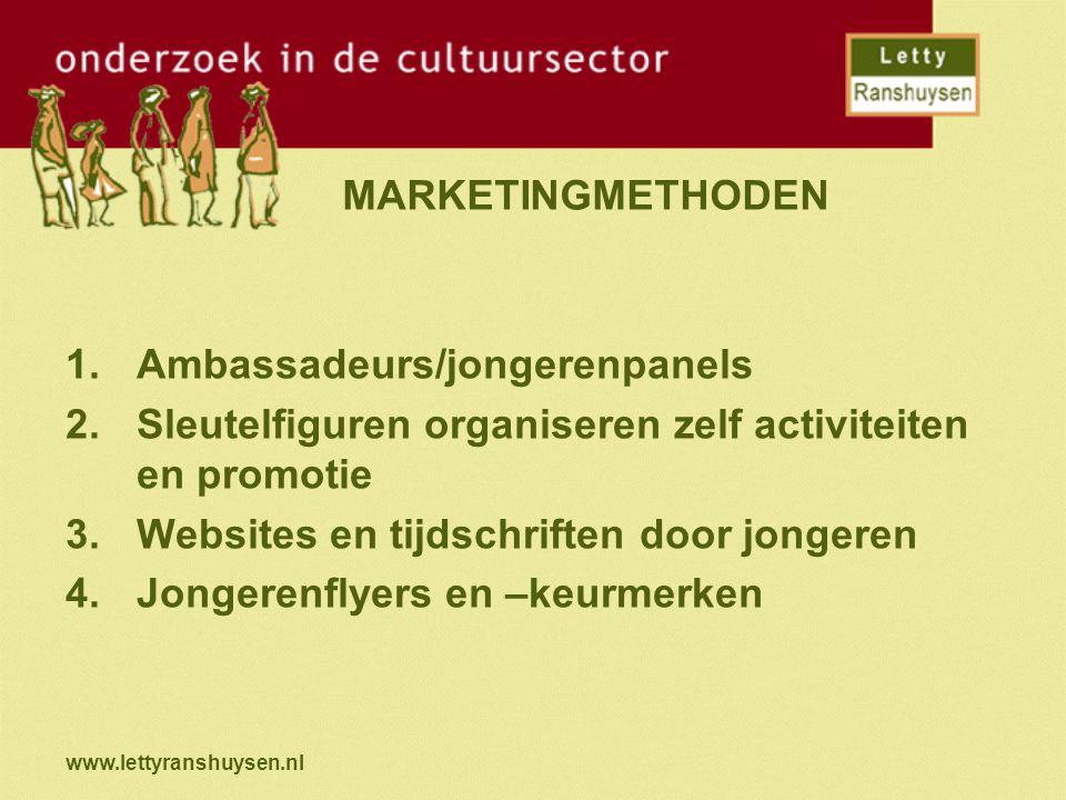 www.lettyranshuysen.nl MARKETINGMETHODEN 1.Ambassadeurs/jongerenpanels 2.Sleutelfiguren organiseren zelf activiteiten en promotie 3.Websites en tijdsc