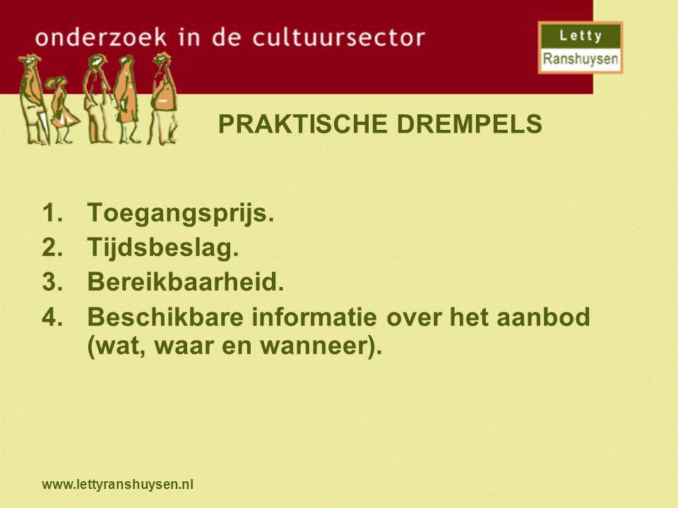 www.lettyranshuysen.nl PRAKTISCHE DREMPELS 1.Toegangsprijs. 2.Tijdsbeslag. 3.Bereikbaarheid. 4.Beschikbare informatie over het aanbod (wat, waar en wa