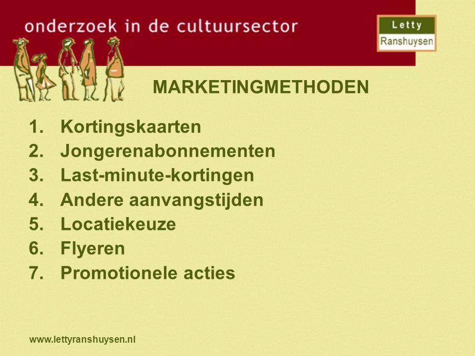 www.lettyranshuysen.nl MARKETINGMETHODEN 1.Kortingskaarten 2.Jongerenabonnementen 3.Last-minute-kortingen 4.Andere aanvangstijden 5.Locatiekeuze 6.Fly