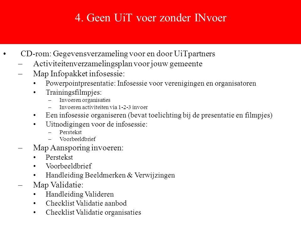 4. Geen UiT voer zonder INvoer CD-rom: Gegevensverzameling voor en door UiTpartners –Activiteitenverzamelingsplan voor jouw gemeente –Map Infopakket i