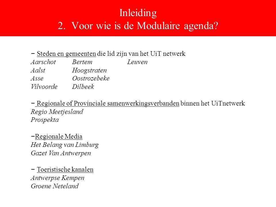Inleiding 2. Voor wie is de Modulaire agenda.