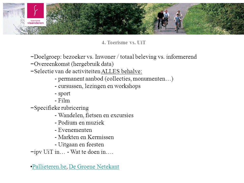 Inleiding 4. Toerisme vs. UiT – Doelgroep: bezoeker vs.