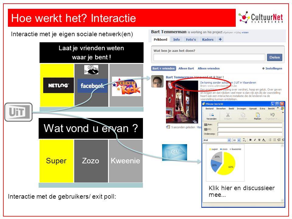 Hoe werkt het. Interactie Interactie met de gebruikers/ exit poll: Wat vond u ervan .