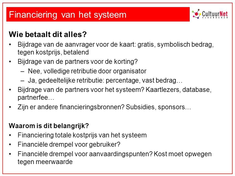 Financiering van het systeem Wie betaalt dit alles? Bijdrage van de aanvrager voor de kaart: gratis, symbolisch bedrag, tegen kostprijs, betalend Bijd