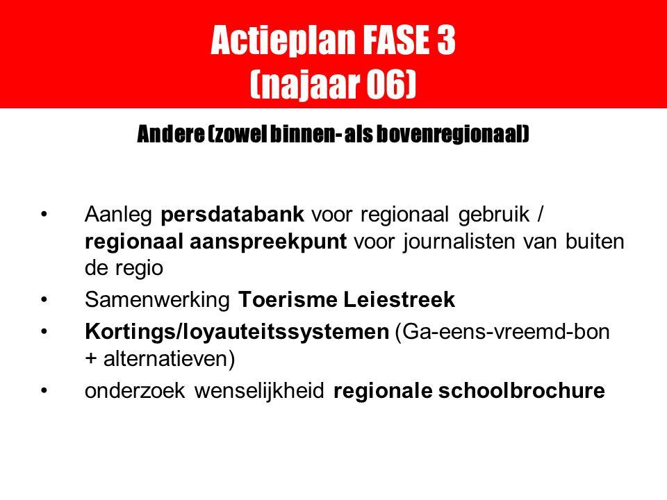 Actieplan FASE 3 (najaar 06) Andere (zowel binnen- als bovenregionaal) Aanleg persdatabank voor regionaal gebruik / regionaal aanspreekpunt voor journalisten van buiten de regio Samenwerking Toerisme Leiestreek Kortings/loyauteitssystemen (Ga-eens-vreemd-bon + alternatieven) onderzoek wenselijkheid regionale schoolbrochure