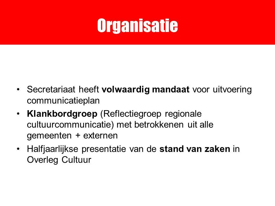 Organisatie Secretariaat heeft volwaardig mandaat voor uitvoering communicatieplan Klankbordgroep (Reflectiegroep regionale cultuurcommunicatie) met betrokkenen uit alle gemeenten + externen Halfjaarlijkse presentatie van de stand van zaken in Overleg Cultuur
