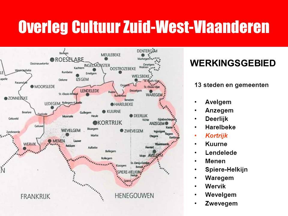 Overleg Cultuur Zuid-West-Vlaanderen WERKINGSGEBIED 13 steden en gemeenten Avelgem Anzegem Deerlijk Harelbeke Kortrijk Kuurne Lendelede Menen Spiere-Helkijn Waregem Wervik Wevelgem Zwevegem