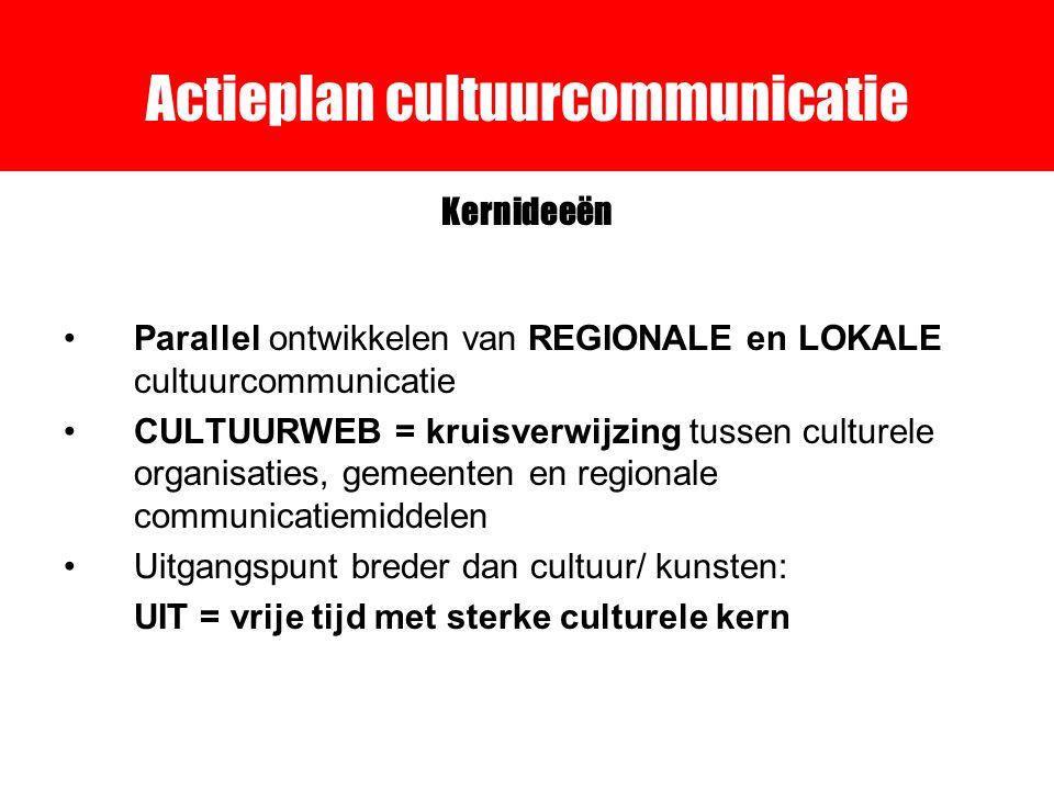 Actieplan cultuurcommunicatie Kernideeën Parallel ontwikkelen van REGIONALE en LOKALE cultuurcommunicatie CULTUURWEB = kruisverwijzing tussen culturele organisaties, gemeenten en regionale communicatiemiddelen Uitgangspunt breder dan cultuur/ kunsten: UIT = vrije tijd met sterke culturele kern