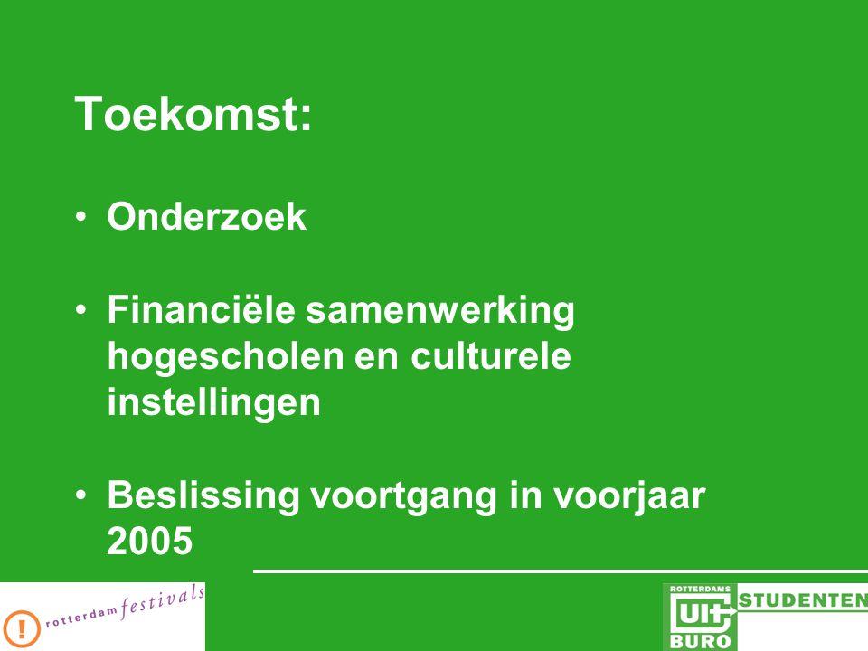 Toekomst: Onderzoek Financiële samenwerking hogescholen en culturele instellingen Beslissing voortgang in voorjaar 2005