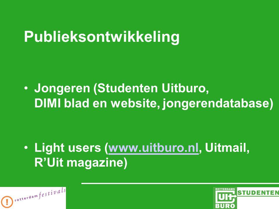 Publieksontwikkeling Jongeren (Studenten Uitburo, DIMI blad en website, jongerendatabase) Light users (www.uitburo.nl, Uitmail, R'Uit magazine)www.uitburo.nl