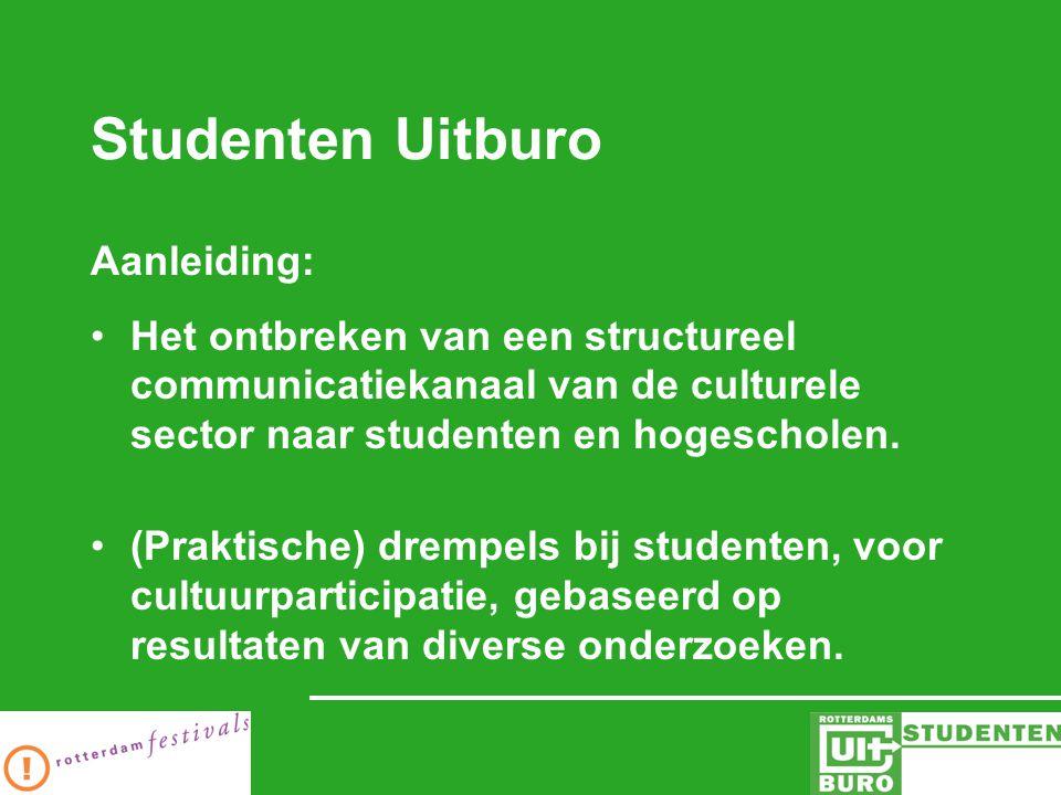 Studenten Uitburo Aanleiding: Het ontbreken van een structureel communicatiekanaal van de culturele sector naar studenten en hogescholen.