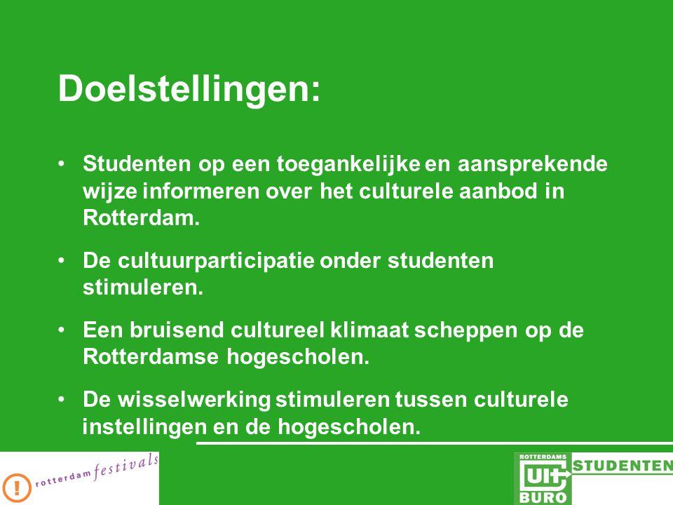 Doelstellingen: Studenten op een toegankelijke en aansprekende wijze informeren over het culturele aanbod in Rotterdam.