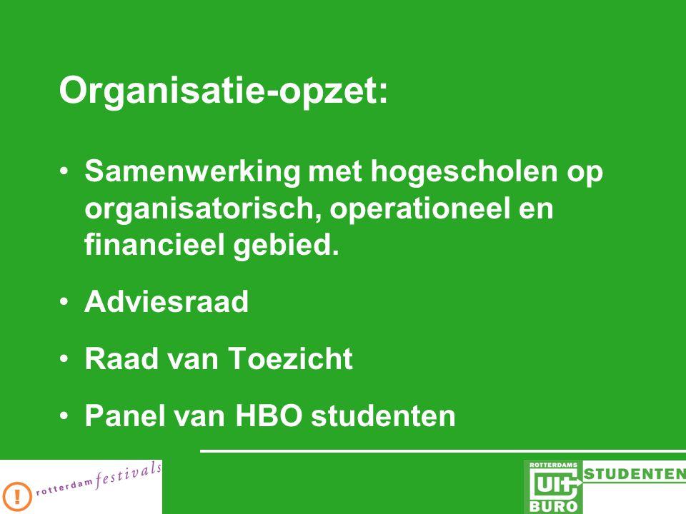 Organisatie-opzet: Samenwerking met hogescholen op organisatorisch, operationeel en financieel gebied.