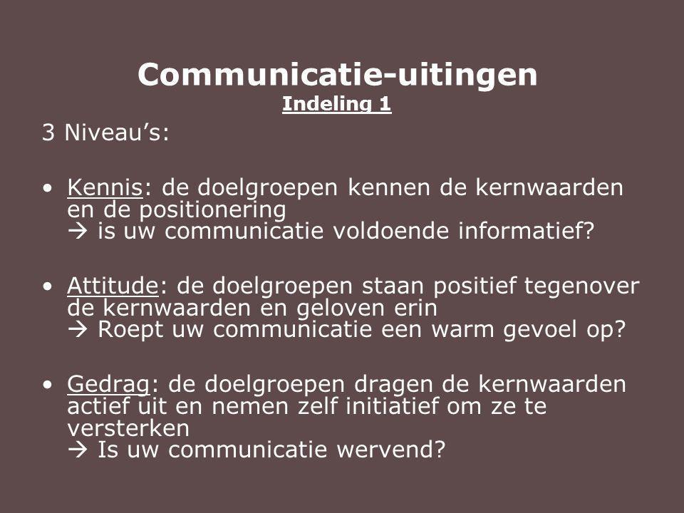 3 Niveau's: Kennis: de doelgroepen kennen de kernwaarden en de positionering  is uw communicatie voldoende informatief.