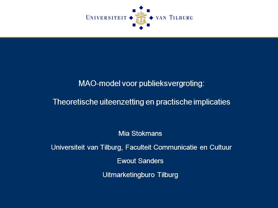 MAO-model voor publieksvergroting: Theoretische uiteenzetting en practische implicaties Mia Stokmans Universiteit van Tilburg, Faculteit Communicatie en Cultuur Ewout Sanders Uitmarketingburo Tilburg