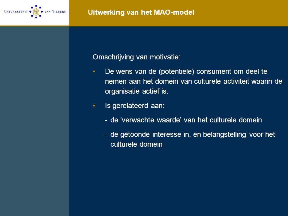 Uitwerking van het MAO-model Omschrijving van motivatie: De wens van de (potentiele) consument om deel te nemen aan het domein van culturele activiteit waarin de organisatie actief is.
