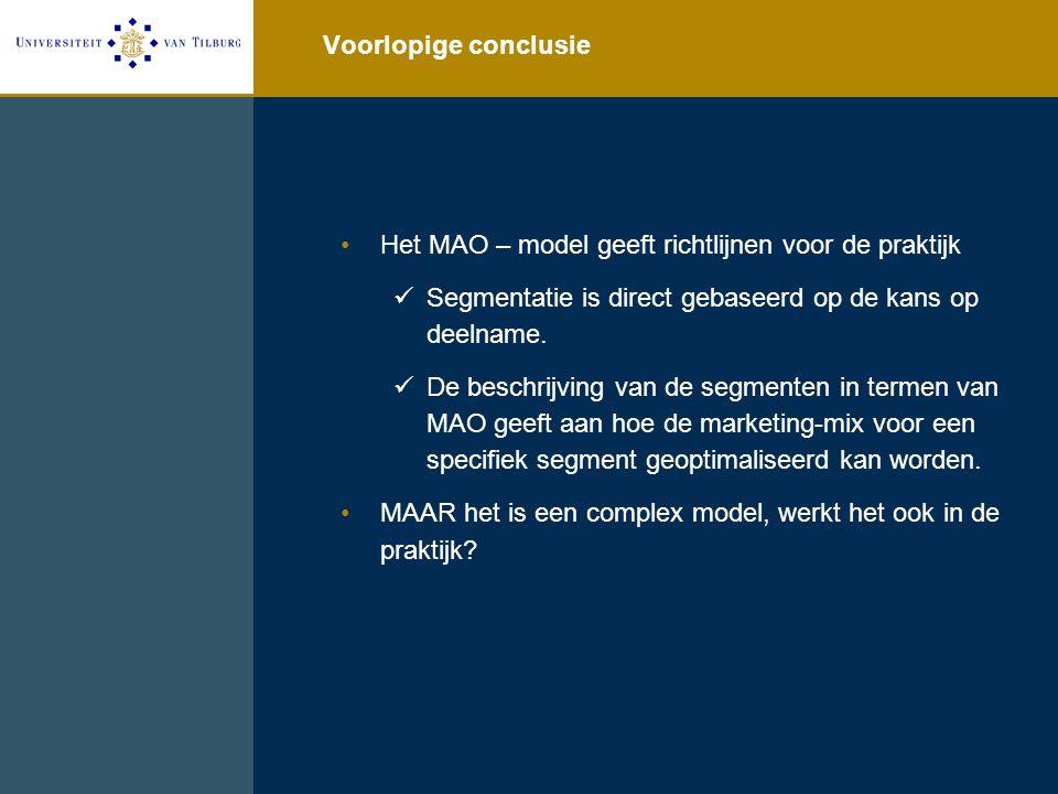 Voorlopige conclusie Het MAO – model geeft richtlijnen voor de praktijk Segmentatie is direct gebaseerd op de kans op deelname. De beschrijving van de