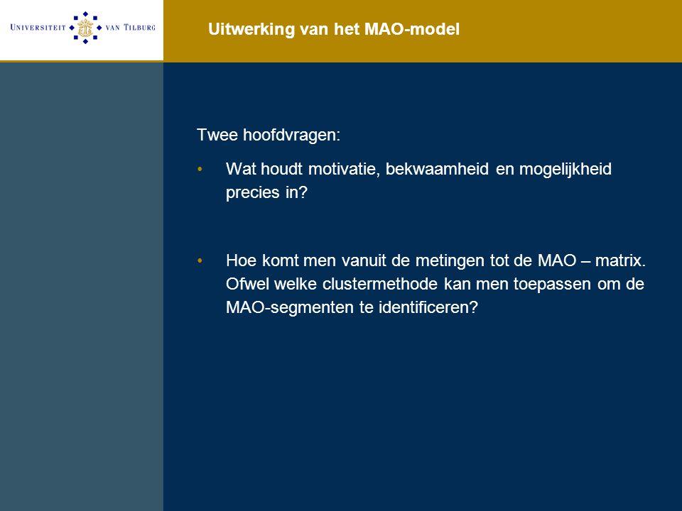 Uitwerking van het MAO-model Twee hoofdvragen: Wat houdt motivatie, bekwaamheid en mogelijkheid precies in? Hoe komt men vanuit de metingen tot de MAO